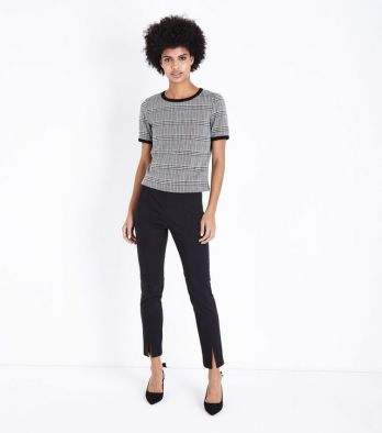 black-split-hem-slim-leg-trousers