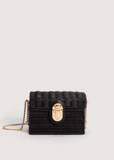 black straw bag